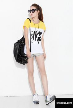 Womens Patchwork Loose Round Collar Batwing Short Sleeve Yellow Tshirt