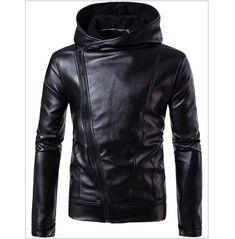Men's fashion slanted zipper hooded jacket Pu Jacket, Men's Leather Jacket, Biker Leather, Jacket Style, Leather Men, Jacket Men, Jacket 2017, Real Leather, Black Leather