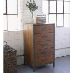 Baxter Square Industrial Tallboy. Our versatile Baxter tallboy, made from reclaimed pine and antiqued metal, combines an industrial feel with a simple design which can lend itself to any room in your home.