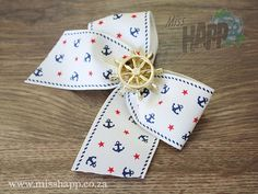 Cream Anchor ribbon with Helm hair bow clip by MissHapp on Etsy