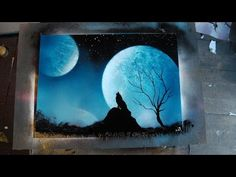 How to Spray Paint Art - Blue Wolf - YouTube