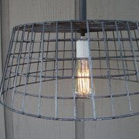 Upcycled Wire Basket Hanging Pendant Light with by BenclifDesigns