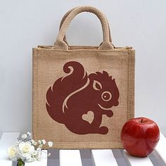 Little Squirrel design hand printed onto a sturdy jute lunch bag, with wipe clean insides. Purple Squirrel, Squirrel Girl, Jute Lunch Bags, Jute Bags, Vintage Kids Clothes, Vintage Children, Retro Kids, Silhouette Cameo Projects, Little Pets