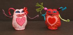 "Ulla Anobile: LOVE MONSTER: PINK (With a Bit of Ink), left; and LOVE MONSTER: RED (And Now To Bed), right. Each 3"" tall. 30- each. Both SOLD"