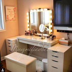 IKEA vanity by @magnifiedbeauty on Instagram. Malm dressing table $150 Alex drawers each $80 total $160 Stave mirror $40 Musik light fixture each $20 total 3 for $60 Bulbs Home Depot $15 for 15 bulbs Con air lighted mirror Costco $40 Ottoman home sense $30 Wireless remote control remote to turn all lights on $40