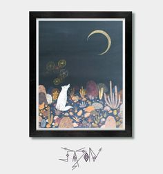 """Archival Art Print of my original mixed media painting, """"A Message For The Moon"""" painted in my Arizona studio.  The size of the print is 8.5 X 11 inches and is ready to liven up your home. My prints are high quality, archival and professionally printed with Epson professional inks, which do not fade or yellow for 200 years. Printed on heavy weight matte paper, archival and acid free. Each print is signed on the front with a white boarder. Ready for presentation.  Art is safely packaged and…"""