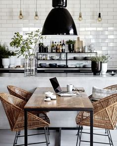 Loving the black, white and rattan look of this vintage modern kitchen and dining room. Loving the black, white and rattan look of this vintage modern kitchen and dining room. Kitchen Interior, New Kitchen, Kitchen Dining, Kitchen Decor, Room Interior, Kitchen Chairs, Kitchen Nook, Nordic Kitchen, Bistro Kitchen
