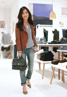 Lou & Grey stripe popover in petite c/o, Gap jeans (old), Hermes belt, KennaT jacket (old)Halogen...