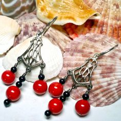 Red Coral and Black Onyx Antique Silver Niobium Chandelier Earrings | KatsAllThat - Jewelry on ArtFire
