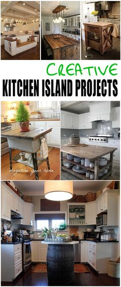 Creative DIY Kitchen Island Ideas- Fun ways to upcycle old things into new and interesting kitchen islands.