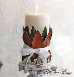 The Decorated House: ~ Handmade Christmas - DIY Magnolia Leaf Candle Decoration