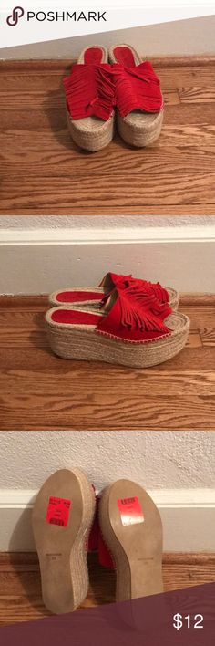 Red espadrilles Brand new, never worn espadrilles five worlds Shoes Espadrilles