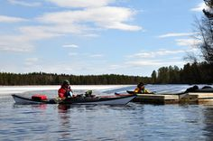 Canoeing in Finland on April . There's still snow..