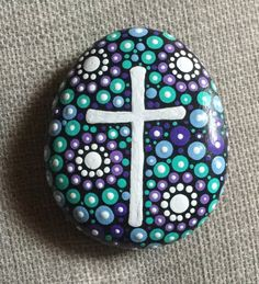 Your place to buy and sell all things handmade Rock Painting Patterns, Rock Painting Ideas Easy, Dot Art Painting, Rock Painting Designs, Pebble Painting, Pebble Art, Stone Painting, Painted Rock Cactus, Mandala Painted Rocks