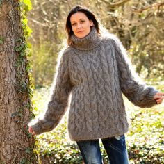 Cable Hand Knitted MohairTurtleneck Sweater Light Gray Fuzzy and Fluffy