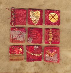 "red and gold 1"" x 1"" fabric squares by Judy by Judy Scott, via Flickr"