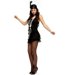Black Fringe Flapper Cocktail Dress at WindsorStore