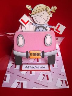 girl driver passed kit on Craftsuprint designed by Heather Howes - made by Cynthia Massey - Printed onto white card, cut out and decoupaged/ assembled with foam pads, used the sentiment as the stopper and added two extra L plates, folds flat Birthday Quotes, Birthday Cards, Passed Driving Test, Fun Cards, New Drivers, Test Card, Easel Cards, 2020 Vision, Making Cards