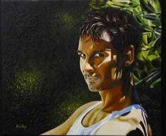 """ALDéHY - """"C'est lui."""" (auto-portrait). - Peinture - Huile sur toile."""