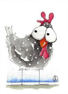 Vogel Illustration, Watercolor Illustration, Watercolor Animals, Watercolor And Ink, Positive Kunst, Doodle Art For Beginners, Watercolor Paintings For Beginners, Doodle Art Journals, Chicken Art