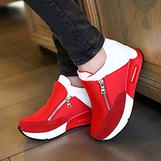 Women's Shoes Fabric Wedge Heel Comfort Round Toe Zipper Fashion Sneakers Outdoor/Casual Black/Red – EUR € 29.99
