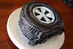 make a flat tire cake, step by step