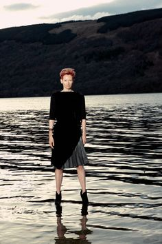 Tilda Swinton shot for Pringle in Nairn, Scotland. incredible