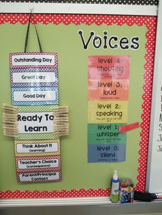 "On this clip chart, I like how students have the opportunity to advance to higher levels for good behavior. Also, I have never seen a ""voices"" clip chart, I would definitely use this in my future classroom! Classroom Behavior Management, Behaviour Management, Classroom Organisation, Behavior Plans, Classroom Behavior Chart, Behavior Clip Charts, Organization Ideas, Classroom Design, Kindergarten Classroom"