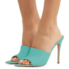 09588b5ae37a Cyan Open Toe Mule Stiletto Heels sandals for Women for Party