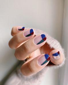 Blue Nail Designs, Diy Nail Designs, Short Nail Designs, Art Designs, Green Nail Polish, Green Nails, Blue Nails, French Tip Nail Art, French Tips