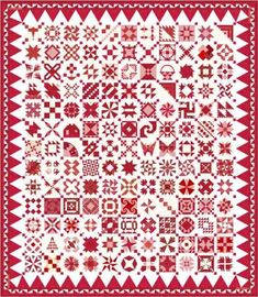 Red & White Midget Block Quilt--free block patterns