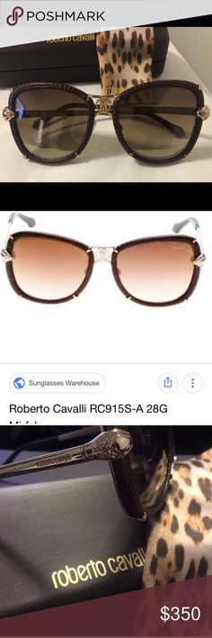 NWOT💯 Authentic Roberto Cavalli Mirfak sunglasses Brand New, never worn. No tags. Aviator style. Perfect condition. No scratches on frames or lenses. Both ear pieces and nose pieces perfect as well. Unisex.  Roberto Cavalli Mirfak 915S-A sunglasses. Size 56/18. Brown leather, gold, brown gradient lens.  Comes with polishing cloth and sunglass case.   No trades Roberto Cavalli Accessories Sunglasses