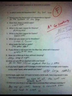 funny test answers  I laughed so many times!!!