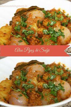 Aloo pyaz ki sabji ( potato onion gravy) is a very popular dish of rajasthan, india. Rajasthani cuisine has a very unique flavour Aloo Recipes, Curry Recipes, Potato Recipes, Vegetable Recipes, Recipies, Paratha Recipes, Vegetarian Curry, Vegetarian Cooking, Vegetarian Recipes