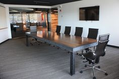 The Harding Industrial Conference Table  | meeting space | |local wood commercial furniture| |wood and steel commercial furniture| #meetingspace #design  http://www.ironageoffice.com/