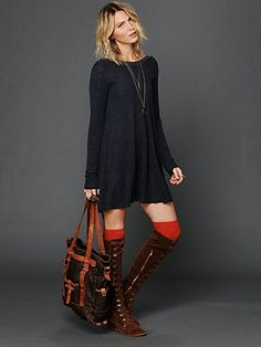 Long Sleeve Swing Dress|Free People.  Layered with leggings for winter in Minnesota.