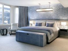 Blue and Grey = London Hotel room