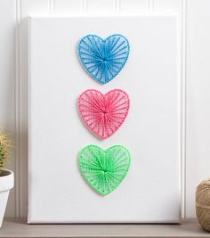 How To Make Stitched Hearts on Canvas