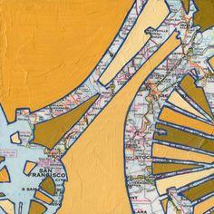 BIke San Francisco no.3-bike art print with vintage map