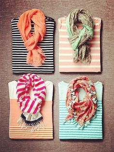 Scarves and stripes.