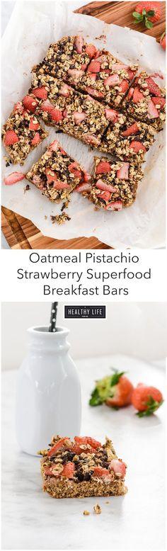 Oatmeal Pistachio Strawberry Superfood Breakfast Bars Recipe | ahealthylifeforme.com
