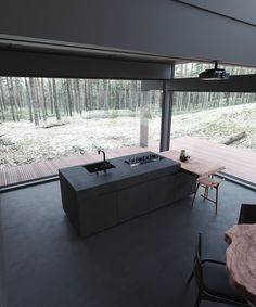 The 'Moscow House' m²). Designed visualized by Stephen Tsymbaliuk ( IG, from Kyiv, Ukraine. Expected to be located in Moscow, Russia. Home Room Design, Dream Home Design, Modern House Design, Modern Glass House, Black Interior Design, Dark Interiors, House In The Woods, House Rooms, Interior Architecture