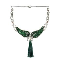 Emerald & Jade Carved Pave Diamond Choker Necklace - Mettlle