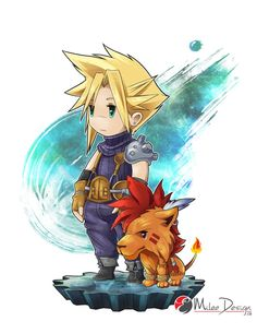 Final Fantasy VII : Cloud Strife and Red XIII by Milee-Design