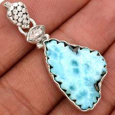 Larimar-Dominican-Republic-Slice-925-Silver-Pendant-Jewelry-SP126126