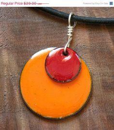 SALE Apple Red on Pumpkin Orange Copper Enamel by Steinvika, $26.10
