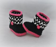 Crochet Baby Booties - Zebra Baby Booties - Baby Snuggly Snuggs - MADE TO ORDER - Sizes Newborn to 12 Months - Please Specify Size
