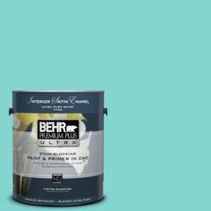BEHR Premium Plus Ultra Home Decorators Collection 1-gal. #HDC-MD-09 Island Oasis Satin Enamel Interior Paint-775401 - The Home Depot