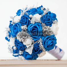 Winter wonderland royal blue silver and white by TheBridalFlower