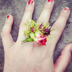 One of our fresh flower rings featuring pineapple lily blooms and mini roses! Prom Flowers, Tiny Flowers, Fresh Flowers, Wedding Flowers, Curved Wedding Band, White Gold Wedding Bands, Sparkle Wedding, Flower Rings, Flower Jewelry